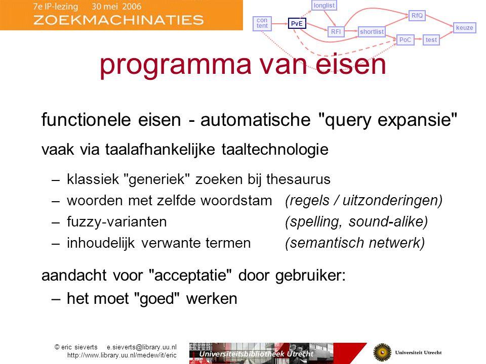 programma van eisen functionele eisen - automatische query expansie