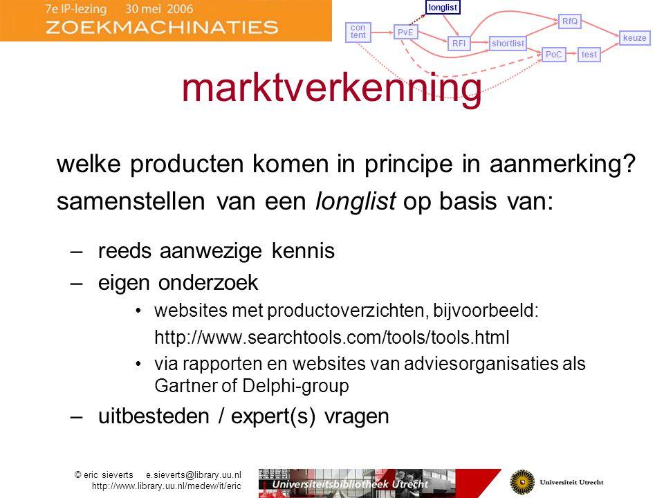 marktverkenning welke producten komen in principe in aanmerking