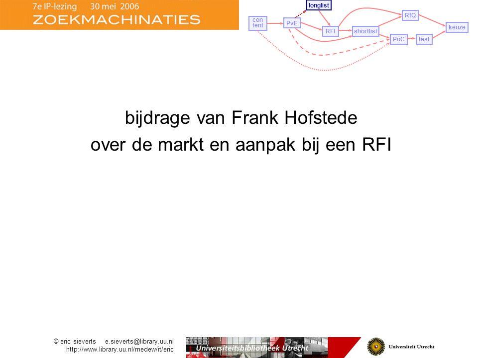 bijdrage van Frank Hofstede over de markt en aanpak bij een RFI