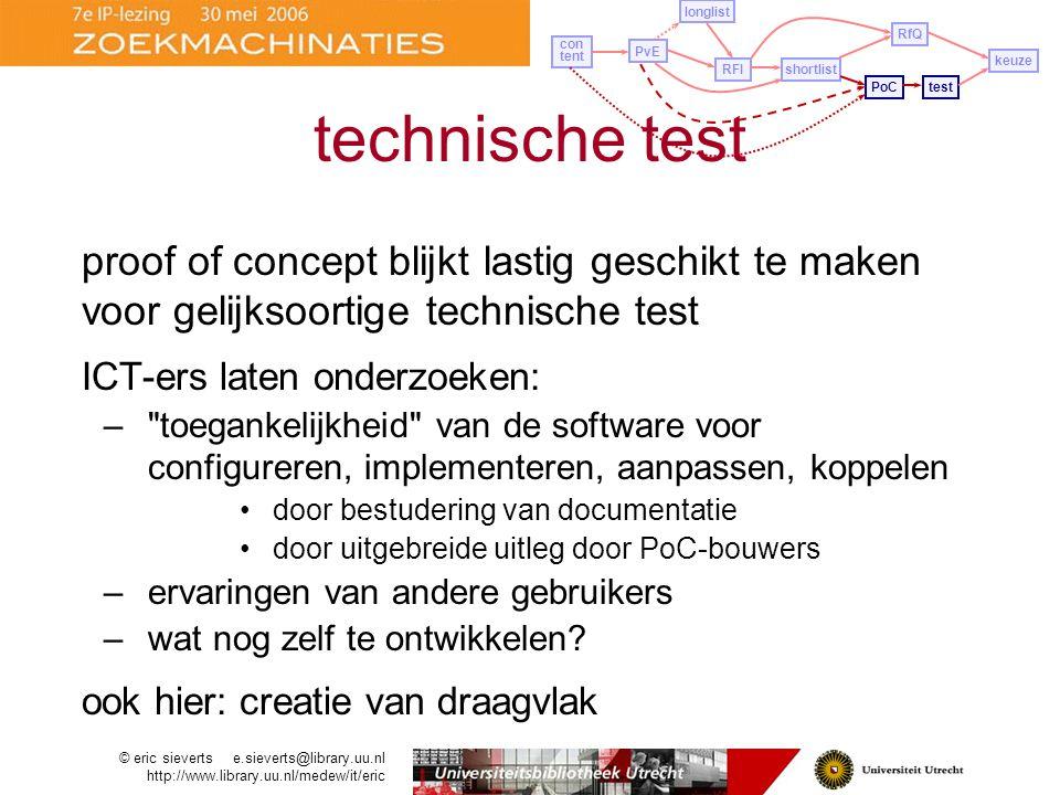 longlist RfQ. con tent. PvE. keuze. RFI. shortlist. technische test. PoC. test.