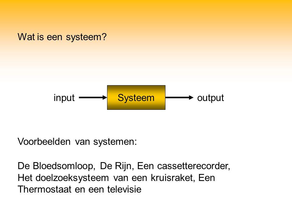 Wat is een systeem Systeem. input. output. Voorbeelden van systemen: