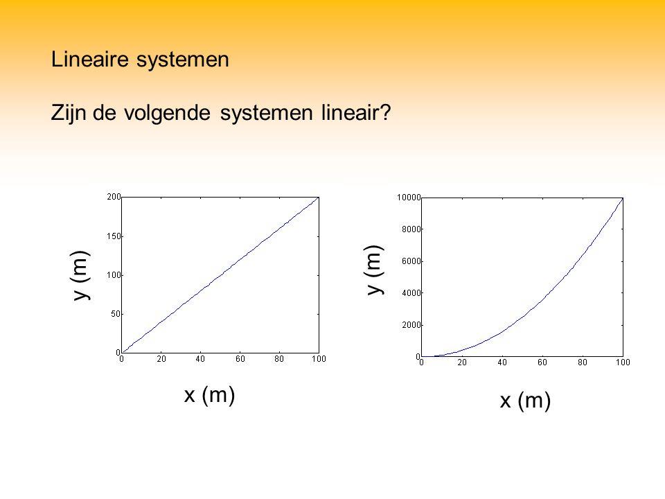 Lineaire systemen Zijn de volgende systemen lineair y (m) y (m) x (m) x (m)