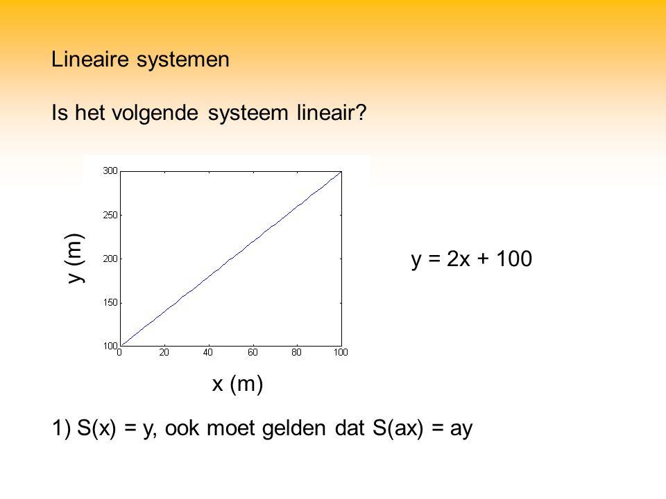 Lineaire systemen Is het volgende systeem lineair.