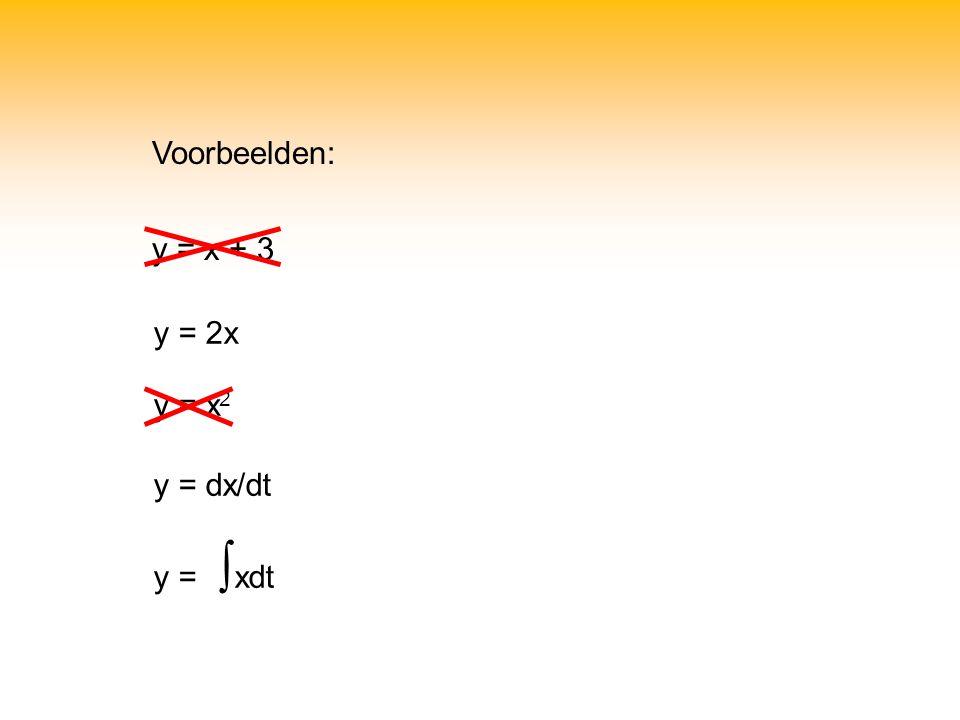 Voorbeelden: y = x + 3 y = 2x y = x2 y = dx/dt y = ∫xdt