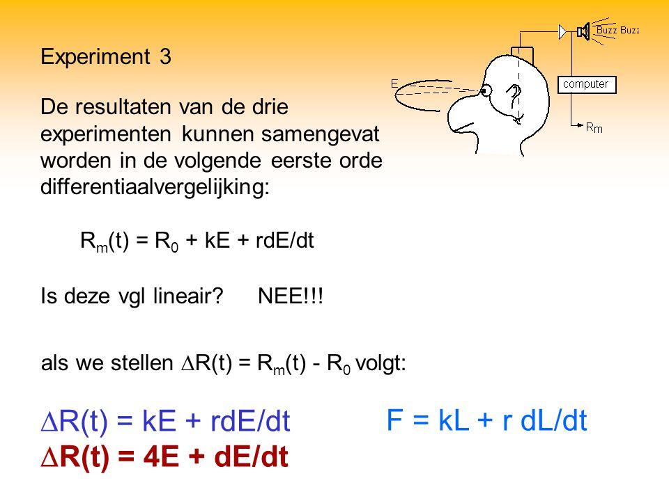 DR(t) = kE + rdE/dt DR(t) = 4E + dE/dt F = kL + r dL/dt Experiment 3