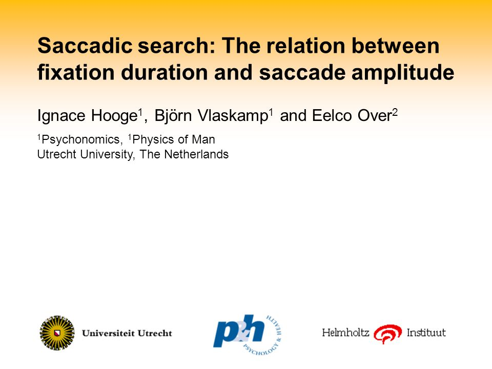 Saccadic search: The relation between fixation duration and saccade amplitude