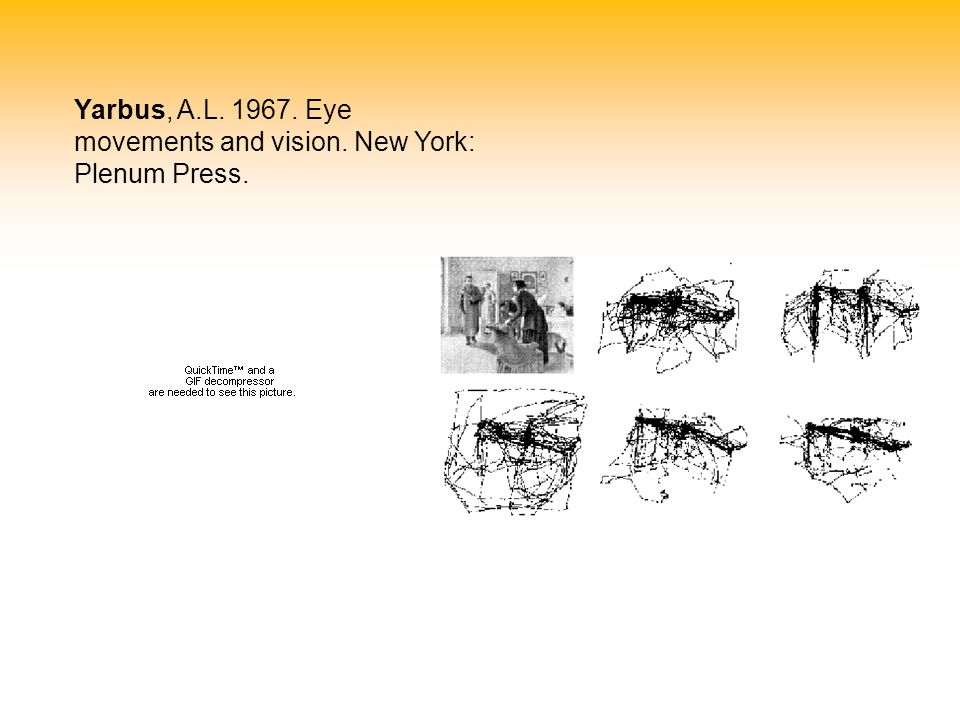 Yarbus, A.L. 1967. Eye movements and vision. New York: Plenum Press.