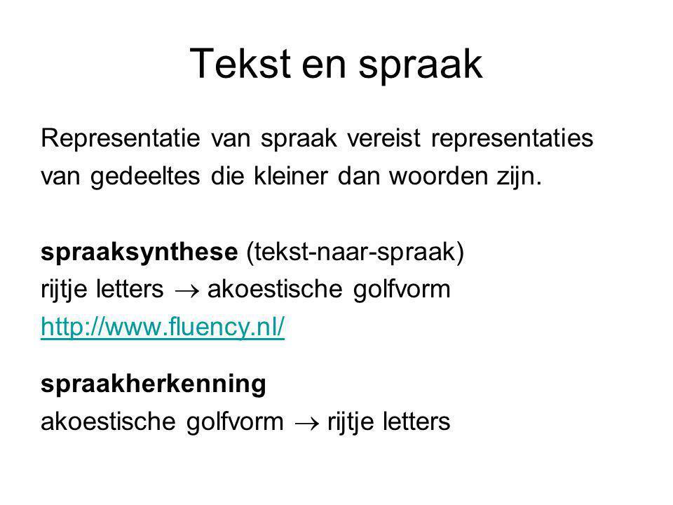Tekst en spraak Representatie van spraak vereist representaties