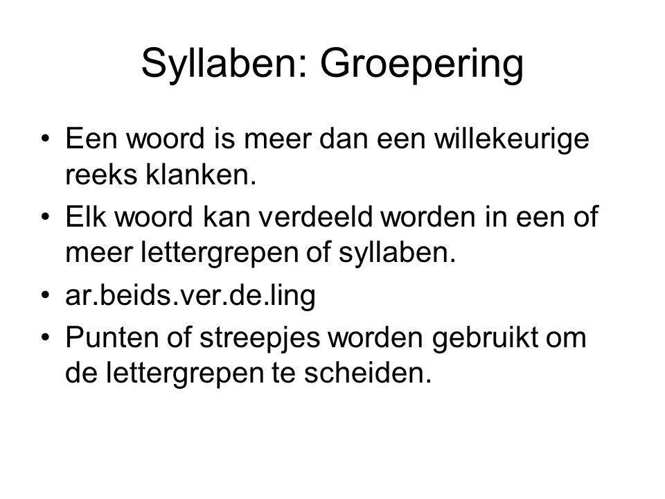 Syllaben: Groepering Een woord is meer dan een willekeurige reeks klanken. Elk woord kan verdeeld worden in een of meer lettergrepen of syllaben.