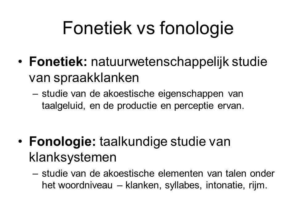 Fonetiek vs fonologie Fonetiek: natuurwetenschappelijk studie van spraakklanken.
