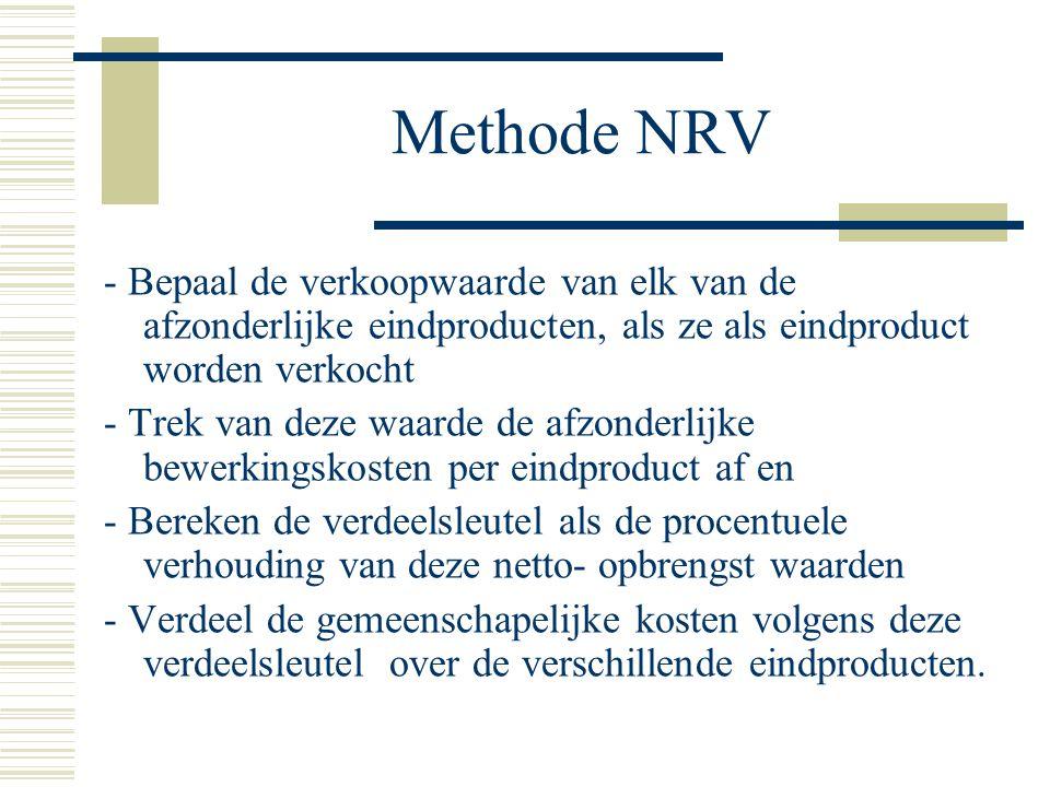 Methode NRV - Bepaal de verkoopwaarde van elk van de afzonderlijke eindproducten, als ze als eindproduct worden verkocht.