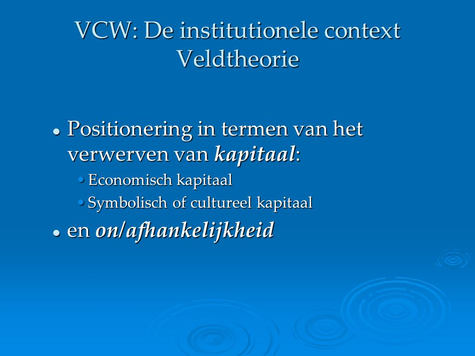 VCW: De institutionele context Veldtheorie