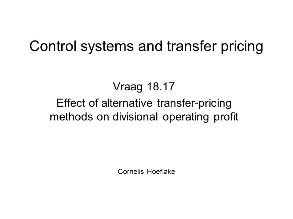 Control systems and transfer pricing