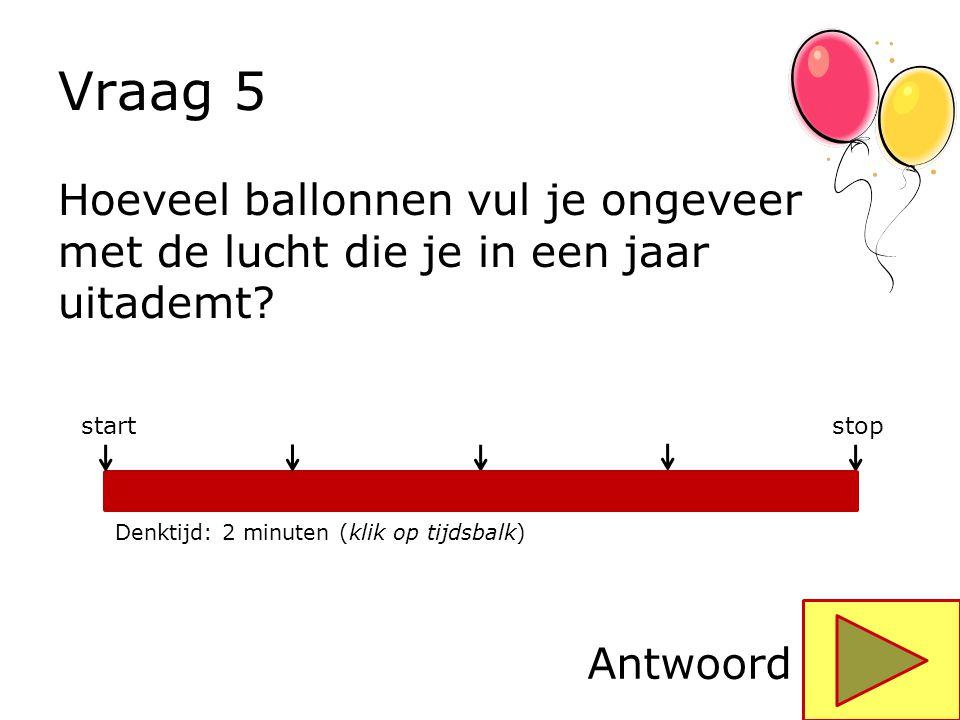 Vraag 5 Hoeveel ballonnen vul je ongeveer met de lucht die je in een jaar uitademt stop. start. Denktijd: 2 minuten (klik op tijdsbalk)