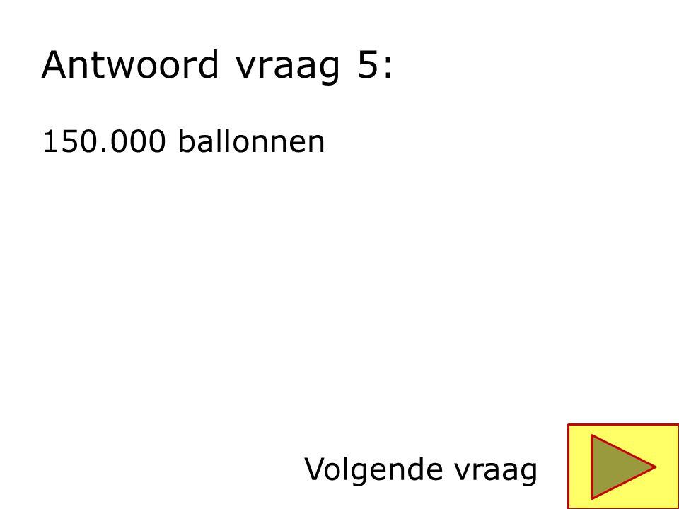 Antwoord vraag 5: 150.000 ballonnen Volgende vraag