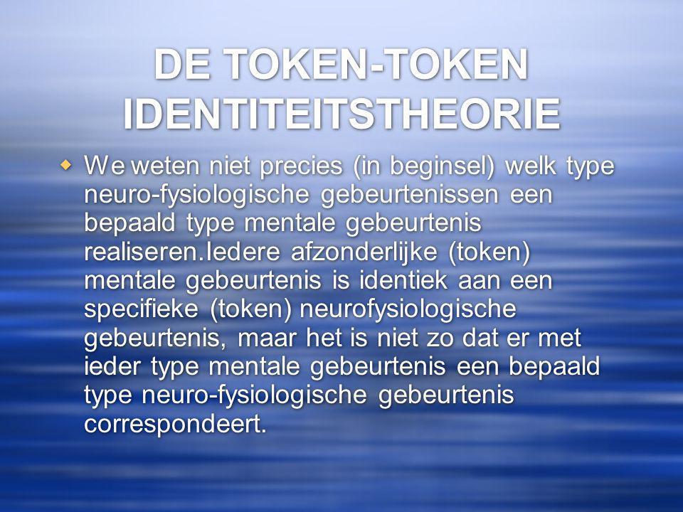 DE TOKEN-TOKEN IDENTITEITSTHEORIE