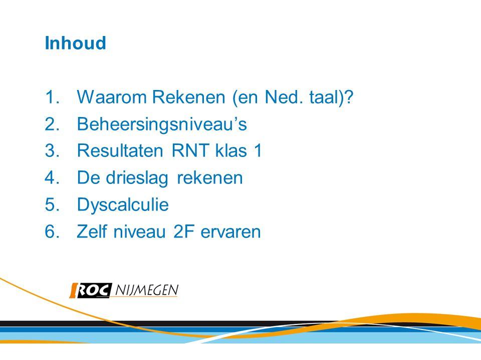 Inhoud Waarom Rekenen (en Ned. taal) Beheersingsniveau's. Resultaten RNT klas 1. De drieslag rekenen.