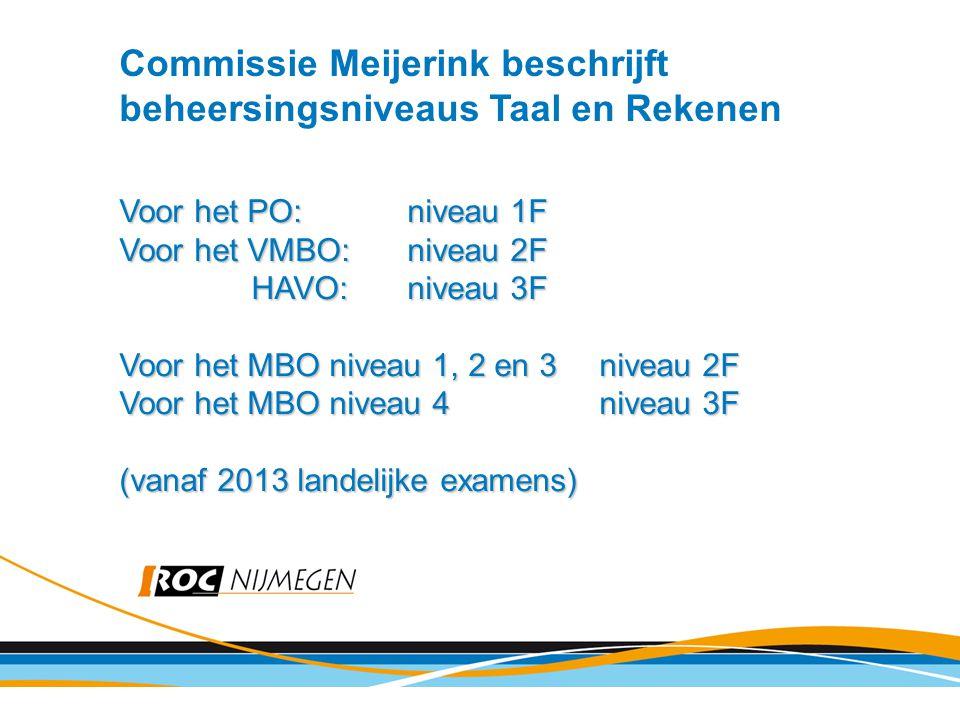Commissie Meijerink beschrijft beheersingsniveaus Taal en Rekenen