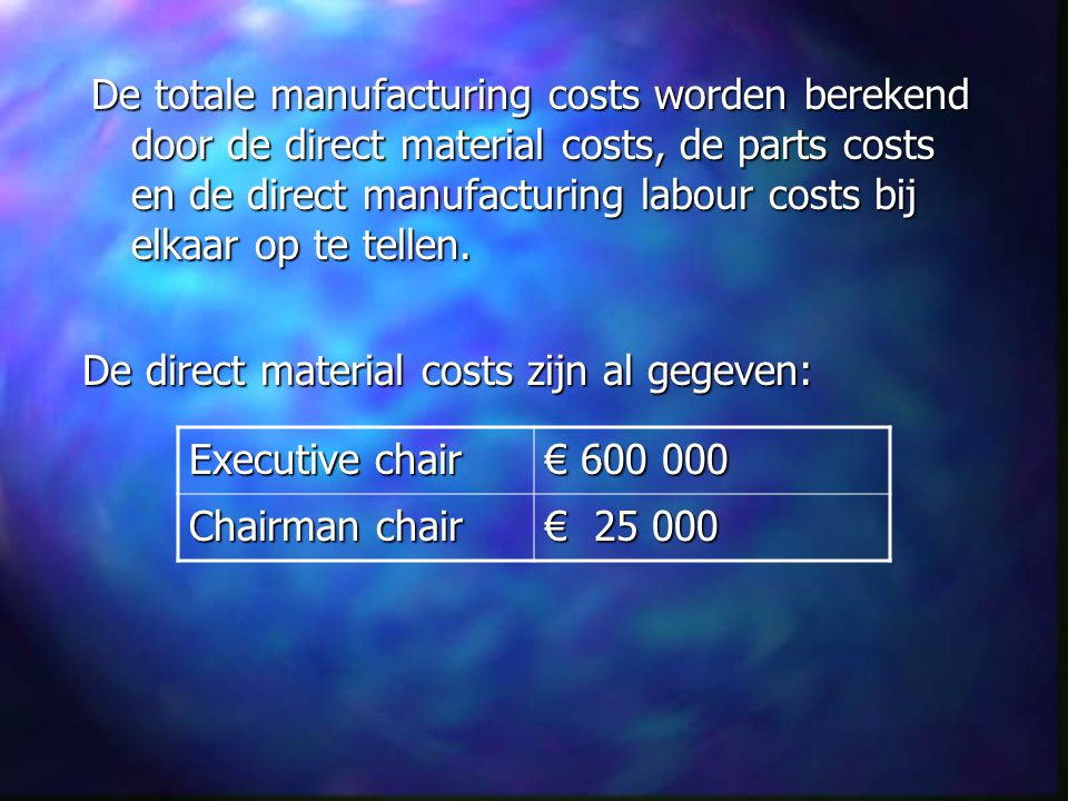 De totale manufacturing costs worden berekend door de direct material costs, de parts costs en de direct manufacturing labour costs bij elkaar op te tellen.
