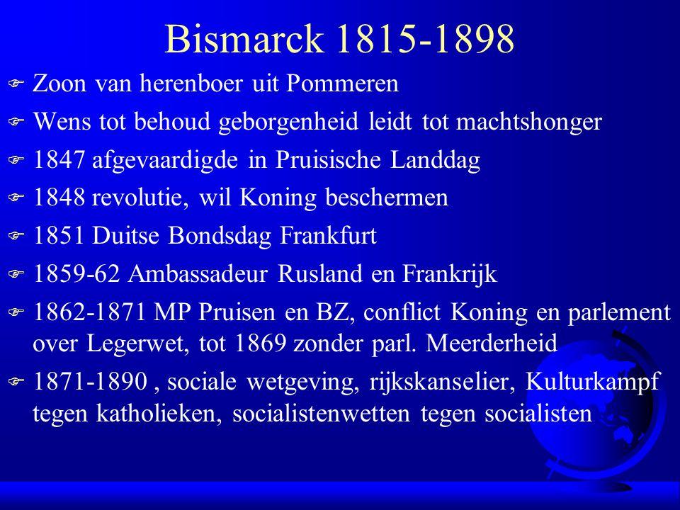 Bismarck 1815-1898 Zoon van herenboer uit Pommeren