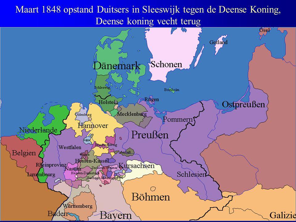 Maart 1848 opstand Duitsers in Sleeswijk tegen de Deense Koning, Deense koning vecht terug