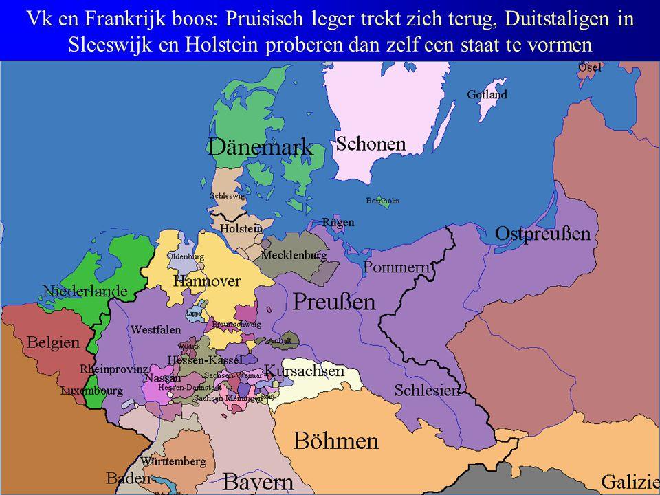 Vk en Frankrijk boos: Pruisisch leger trekt zich terug, Duitstaligen in Sleeswijk en Holstein proberen dan zelf een staat te vormen