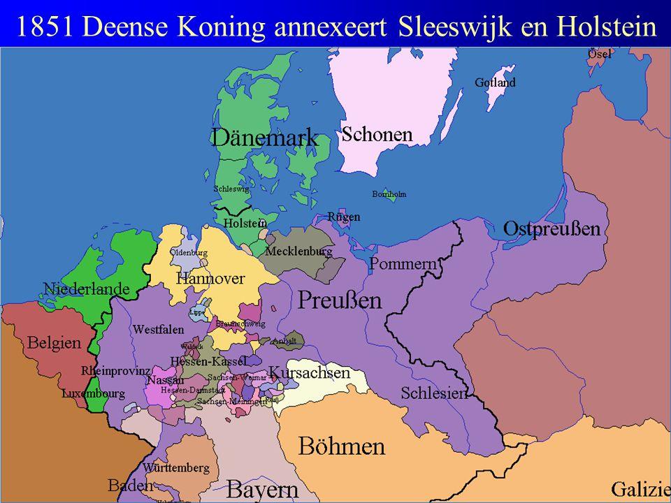 1851 Deense Koning annexeert Sleeswijk en Holstein