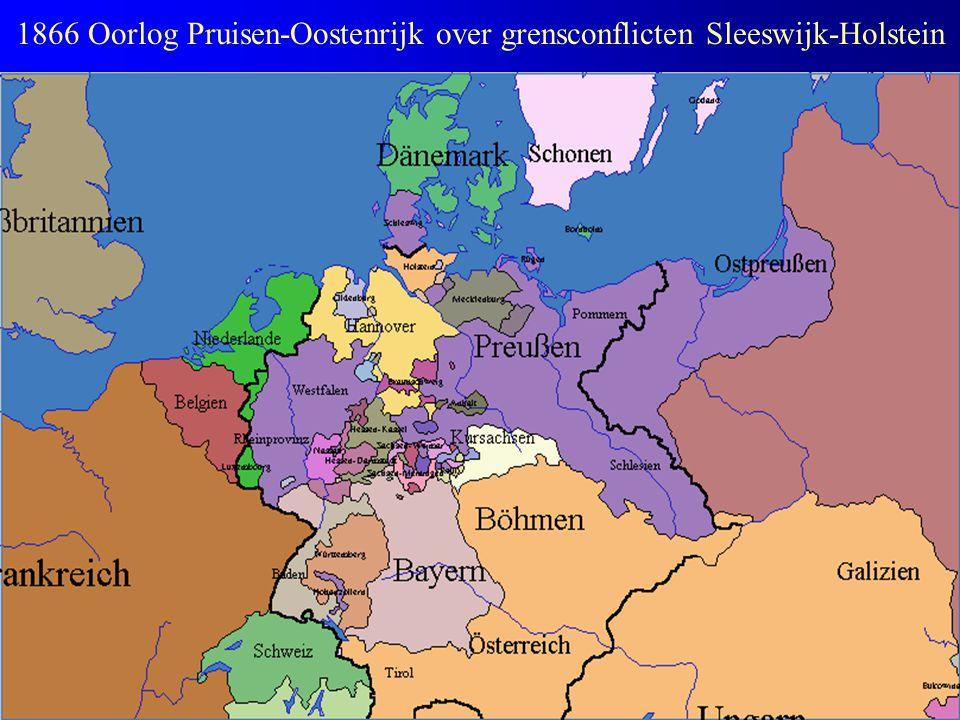 1866 Oorlog Pruisen-Oostenrijk over grensconflicten Sleeswijk-Holstein
