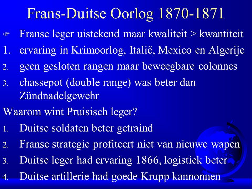 Frans-Duitse Oorlog 1870-1871 Franse leger uistekend maar kwaliteit > kwantiteit. 1. ervaring in Krimoorlog, Italië, Mexico en Algerije.