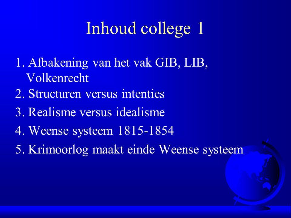 Inhoud college 1 1. Afbakening van het vak GIB, LIB, Volkenrecht