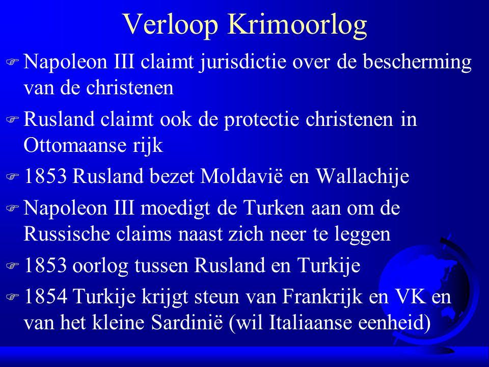 Verloop Krimoorlog Napoleon III claimt jurisdictie over de bescherming van de christenen.