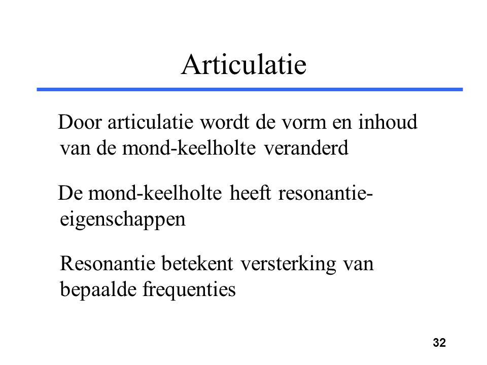 Articulatie Door articulatie wordt de vorm en inhoud van de mond-keelholte veranderd. De mond-keelholte heeft resonantie-eigenschappen.