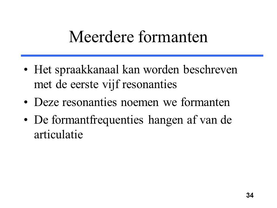 Meerdere formanten Het spraakkanaal kan worden beschreven met de eerste vijf resonanties. Deze resonanties noemen we formanten.