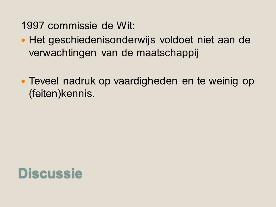 Discussie 1997 commissie de Wit: