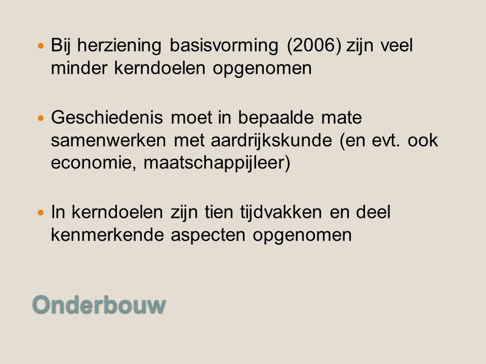 Bij herziening basisvorming (2006) zijn veel minder kerndoelen opgenomen