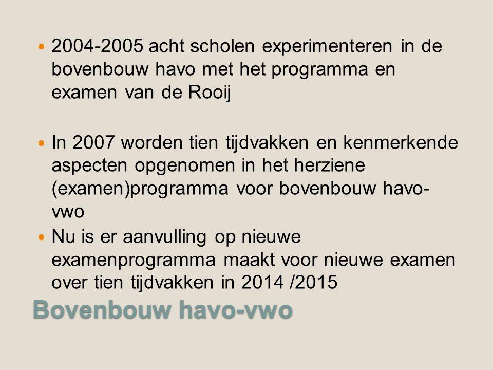 2004-2005 acht scholen experimenteren in de bovenbouw havo met het programma en examen van de Rooij