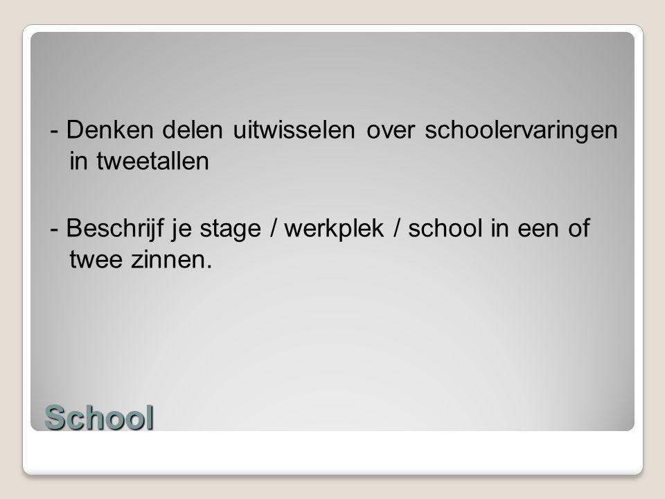 School - Denken delen uitwisselen over schoolervaringen in tweetallen