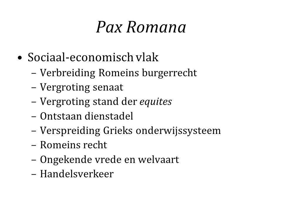 Pax Romana Sociaal-economisch vlak Verbreiding Romeins burgerrecht