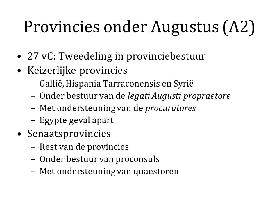 Provincies onder Augustus (A2)