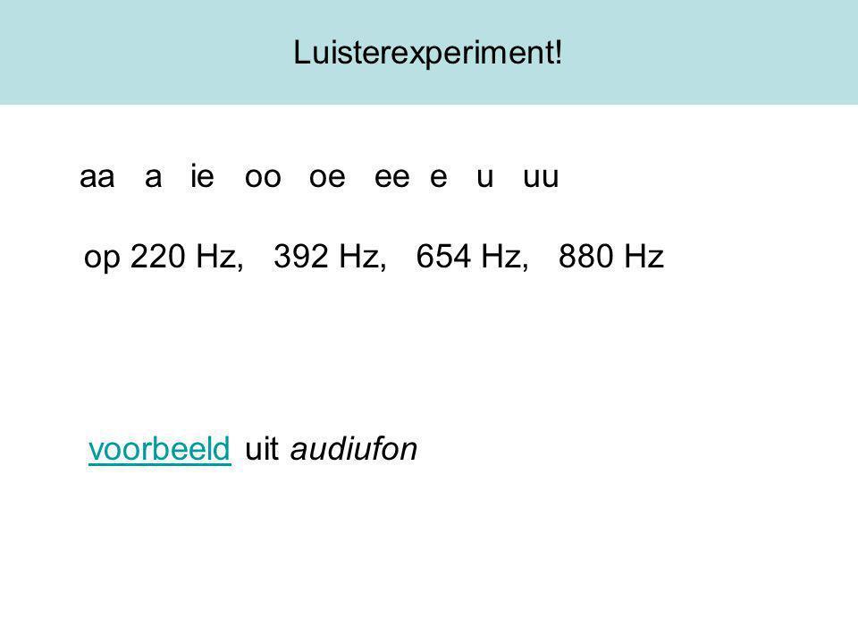 Luisterexperiment! aa a ie oo oe ee e u uu op 220 Hz, 392 Hz, 654 Hz, 880 Hz.