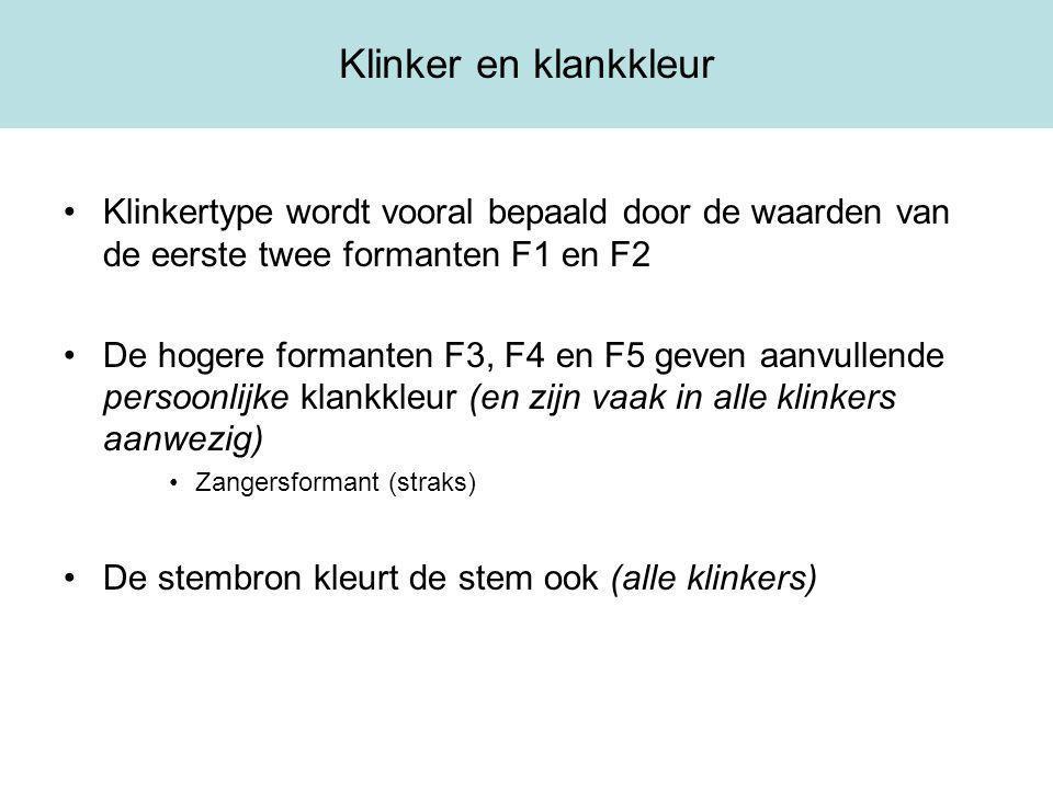 Klinker en klankkleur Klinkertype wordt vooral bepaald door de waarden van de eerste twee formanten F1 en F2.