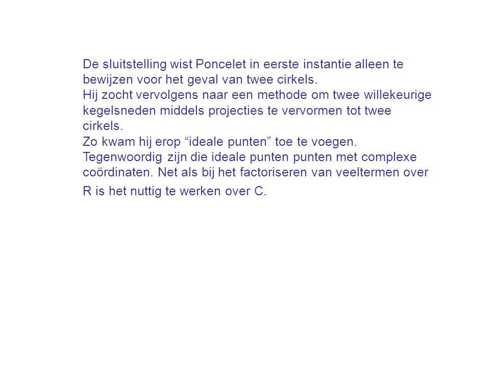 De sluitstelling wist Poncelet in eerste instantie alleen te bewijzen voor het geval van twee cirkels.
