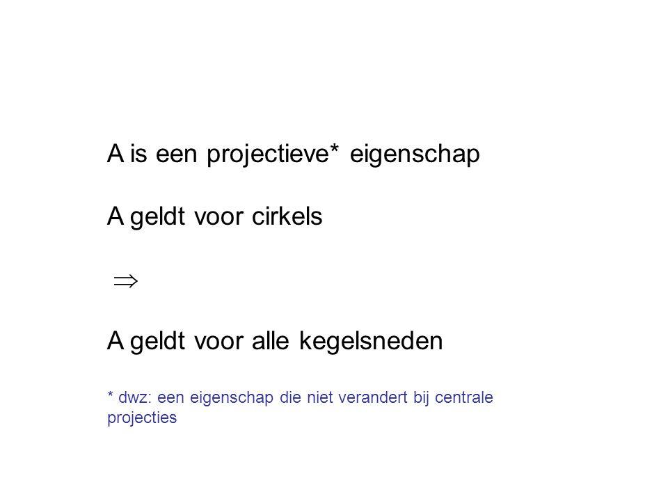 A is een projectieve* eigenschap A geldt voor cirkels 