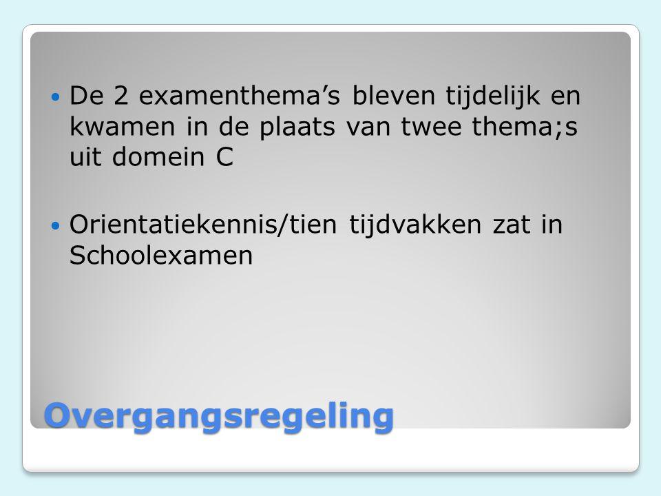 De 2 examenthema's bleven tijdelijk en kwamen in de plaats van twee thema;s uit domein C