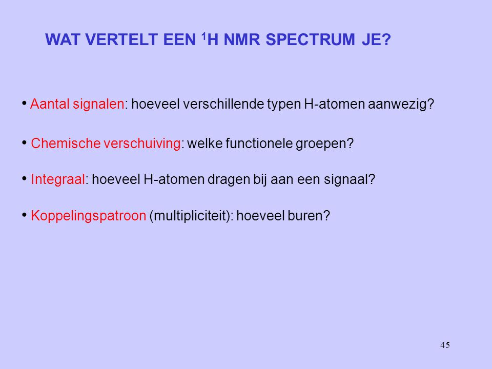 WAT VERTELT EEN 1H NMR SPECTRUM JE