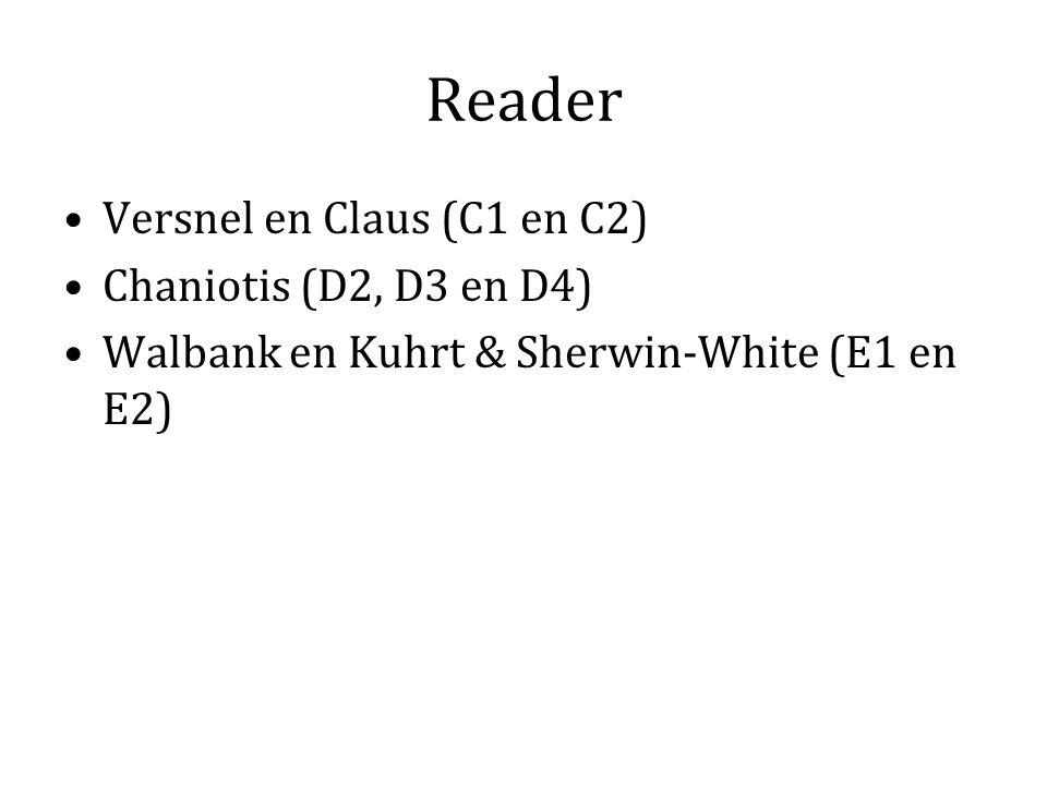 Reader Versnel en Claus (C1 en C2) Chaniotis (D2, D3 en D4)