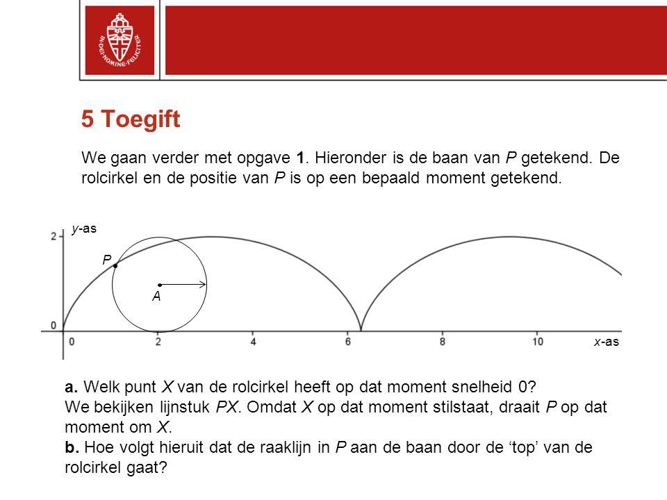 5 Toegift We gaan verder met opgave 1. Hieronder is de baan van P getekend. De rolcirkel en de positie van P is op een bepaald moment getekend.