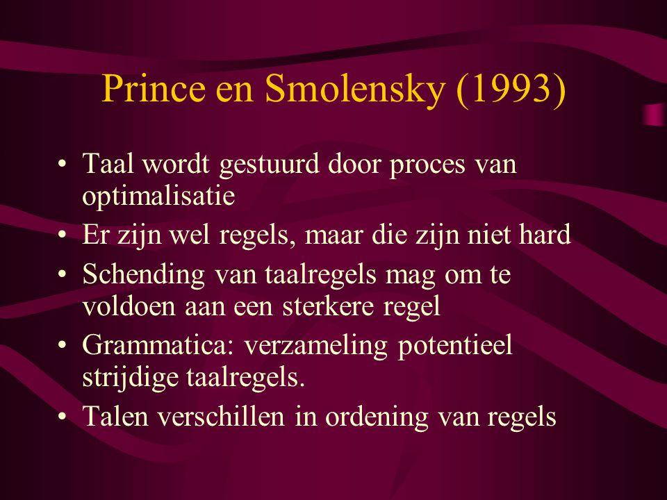 Prince en Smolensky (1993) Taal wordt gestuurd door proces van optimalisatie. Er zijn wel regels, maar die zijn niet hard.