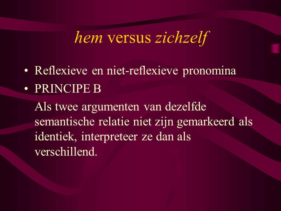 hem versus zichzelf Reflexieve en niet-reflexieve pronomina PRINCIPE B