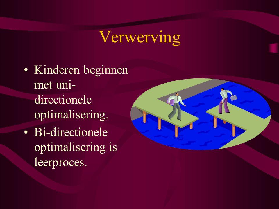 Verwerving Kinderen beginnen met uni-directionele optimalisering.